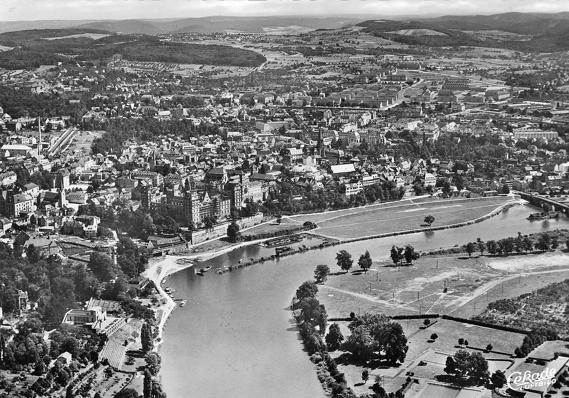© Luftaufnahme, Cramers Kunstanstalt Dortmund. Stadt- und Stiftsarchiv Aschaffenburg, Ansichtskartensammlung