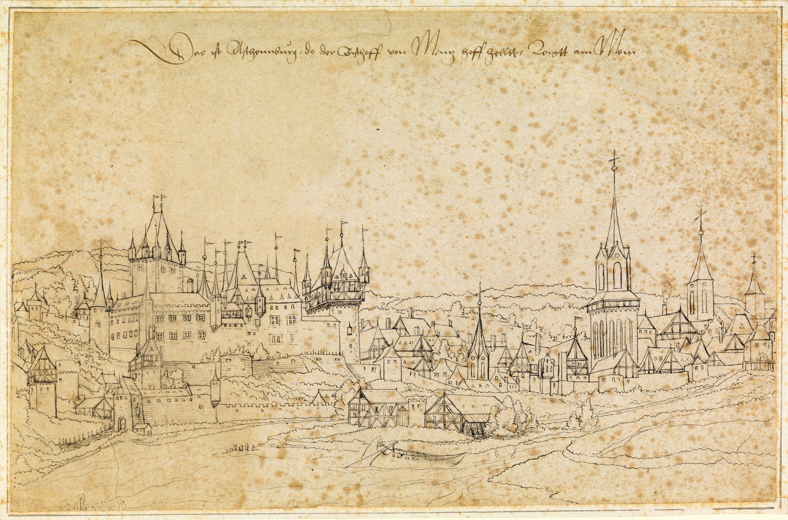 © Veit Hirsvogel d. J., Aschaffenburg mit altem Schloss, Federzeichnung, um 1540. Staatsbibliothek Bamberg, IP 99, Foto: Gerald Raab