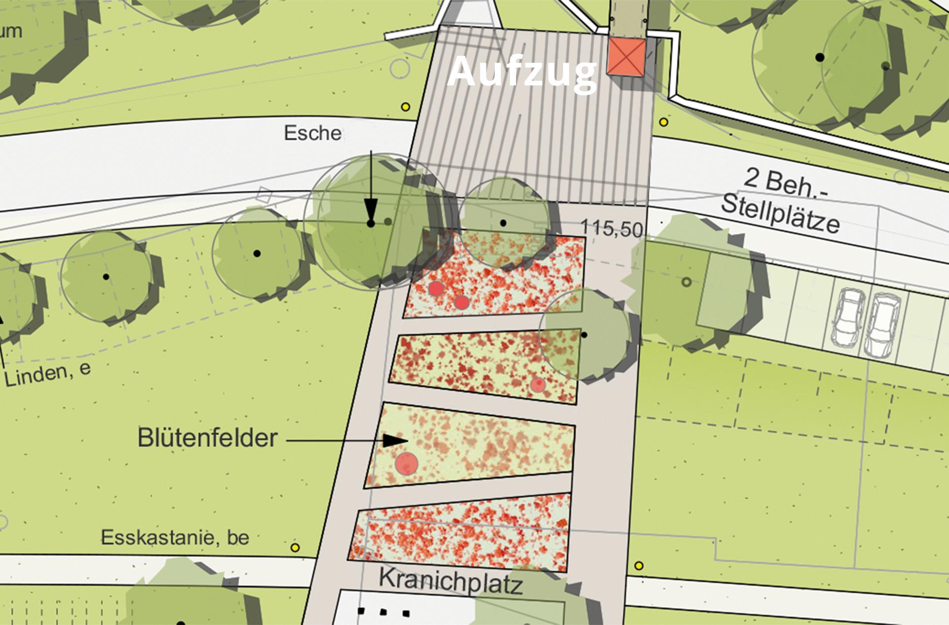 Kranichplatz mit Blütenfeldern und Aufzug ©Landschaftsarchitekt Stefan Fromm