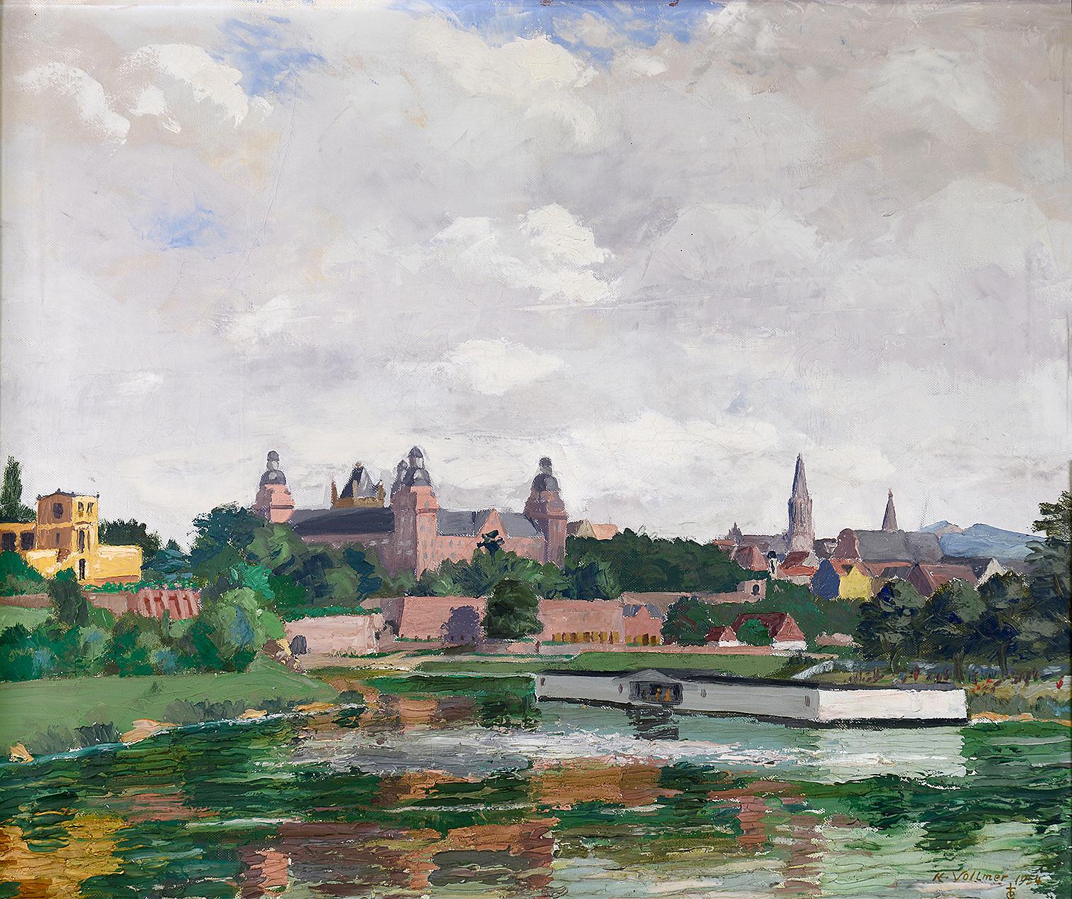 © Karl Adam Vollmer, Schloss Johannisburg mit Mainbad Krapp, Ölgemälde, 1954, Museen der Stadt Aschaffenburg, Foto: Ines Otschik