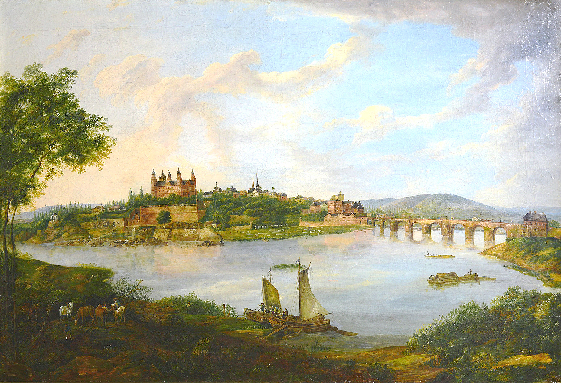 © Stadtansicht Aschaffenburg, Ölgemälde, 1. Hälfte 19.Jh. Museen der Stadt Aschaffenburg, Foto: Ines Otschik