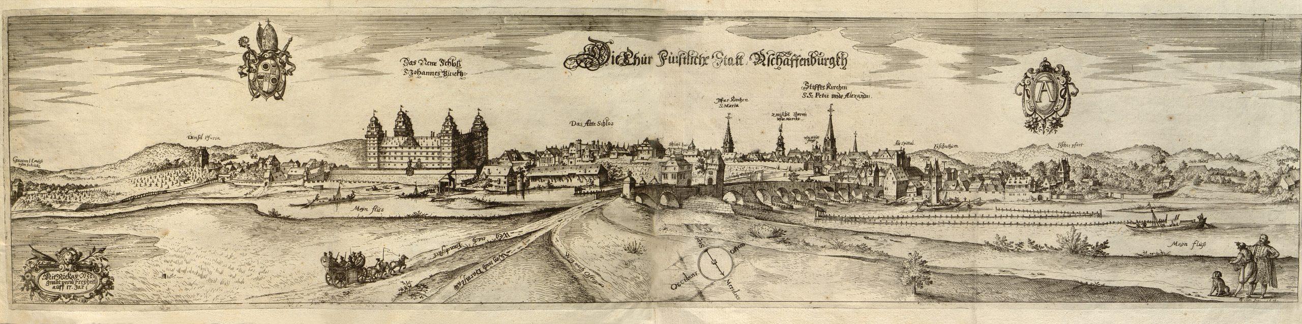 © Georg Keller, Ansicht von Aschaffenburg, 1615, Kupferstich aus dem Ridinger-Werk von 1616. Stadt- und Stiftsarchiv Aschaffenburg, Grafische Sammlung