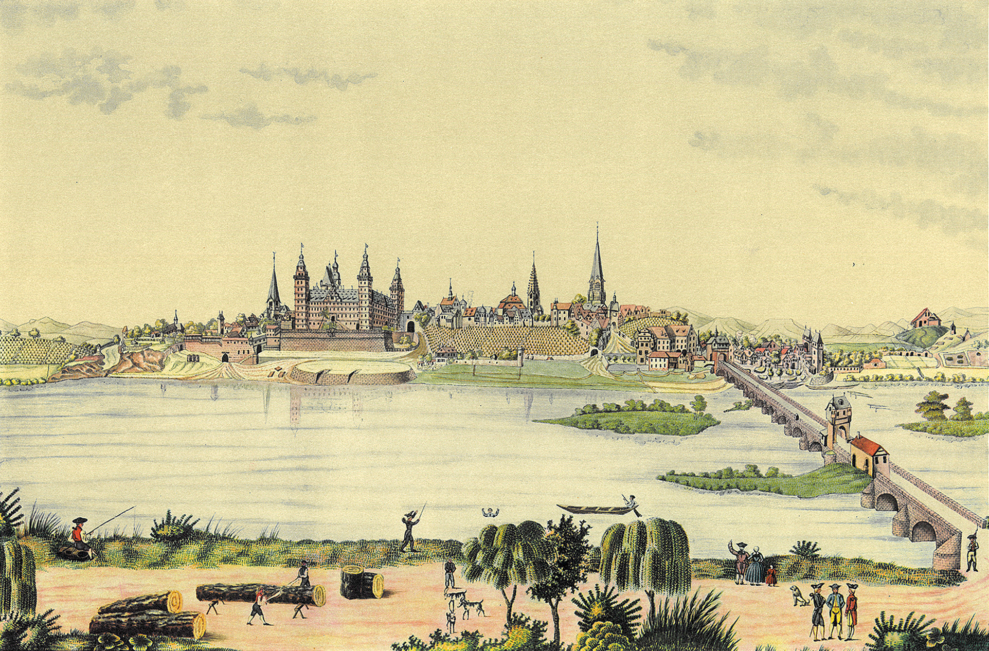 © Schloss und Stadt Aschaffenburg mit Mainbrücke vom jenseitigen Ufer aus, Aquarell, um 1750. Sammlung Nanna Ruths Aschaffenburg, Stadt- und Stiftsarchiv Aschaffenburg