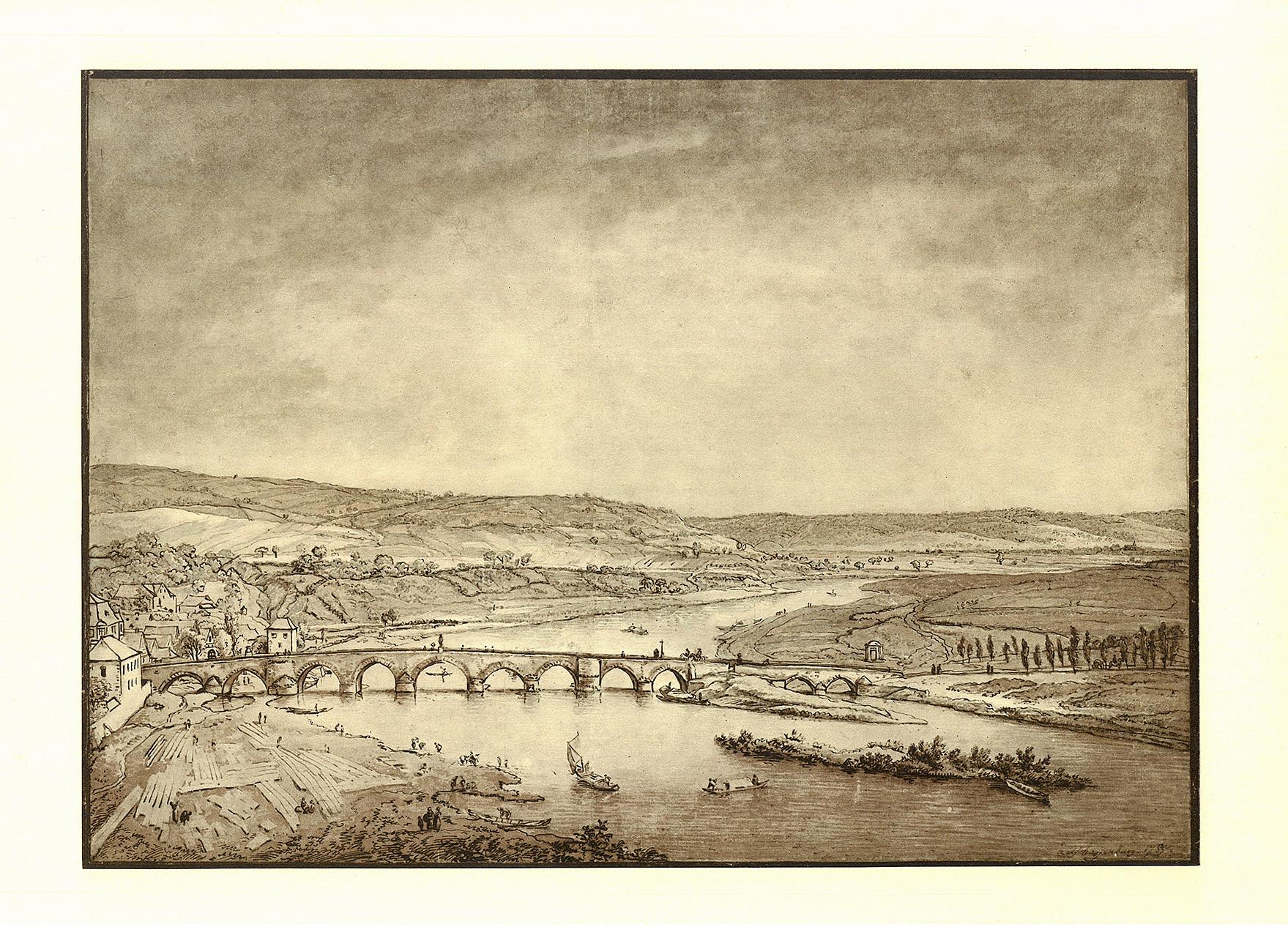 © Ferdinand Kobell, Ansicht von Aschaffenburg mit der Mainbrücke, Aquarell, um 1785, Museen der Stadt Aschaffenburg
