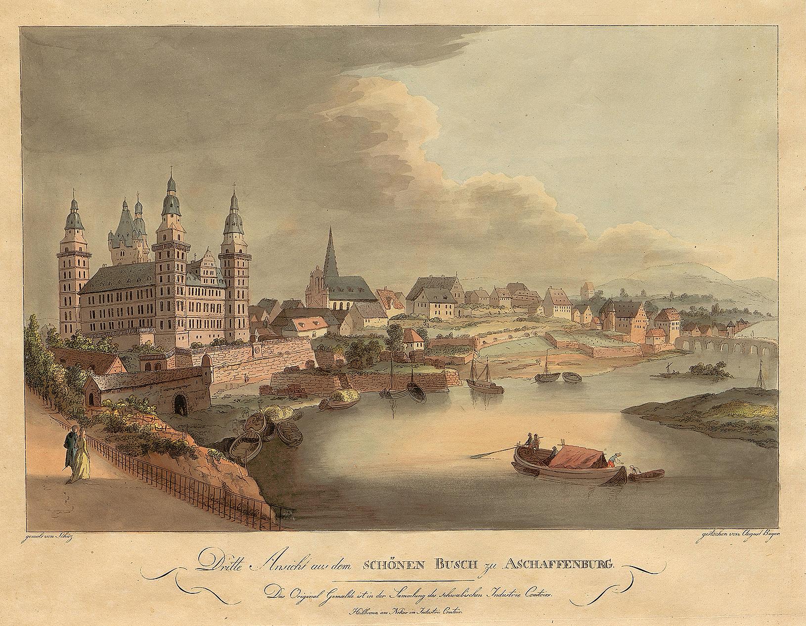 © A. Bayer nach einem Gemälde von C. G. Schüz, Schloss und Stadt Aschaffenburg, Kupferstich koloriert, um 1795. Stadt- und Stiftsarchiv Aschaffenburg, Grafische Sammlung