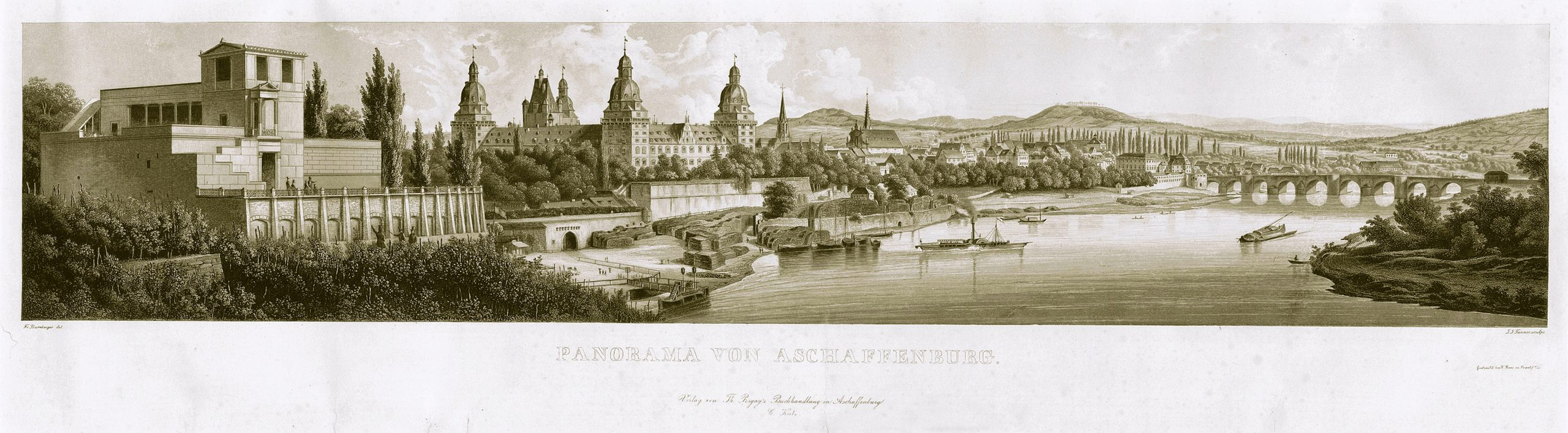 © F. Bamberger/J. J. Tanner, Panorama von Aschaffenburg, Stahlstich mit Aquatinta, um 1850. Stadt- und Stiftsarchiv Aschaffenburg, Grafische Sammlung